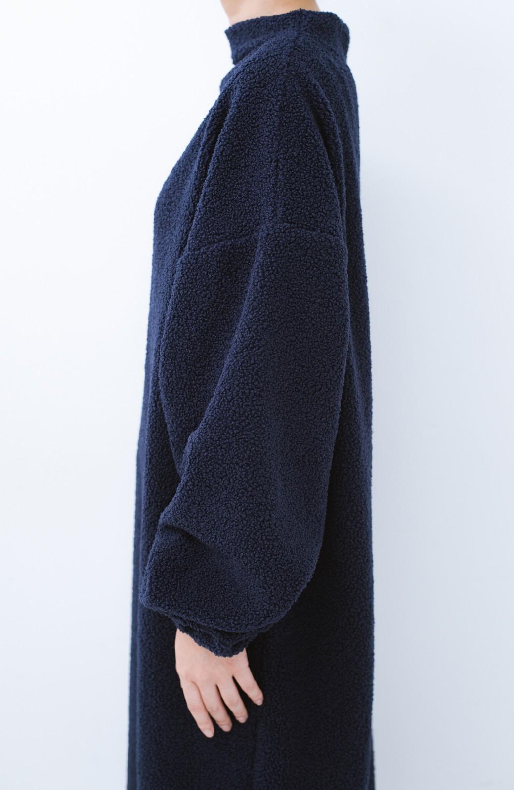 haco! むくみもすぽっと隠してくれる 楽ちんボアロングワンピ&裏起毛レギンスセット【まったり期~もやもや期】女の子バンザイ!プロジェクト  <ネイビー>の商品写真5