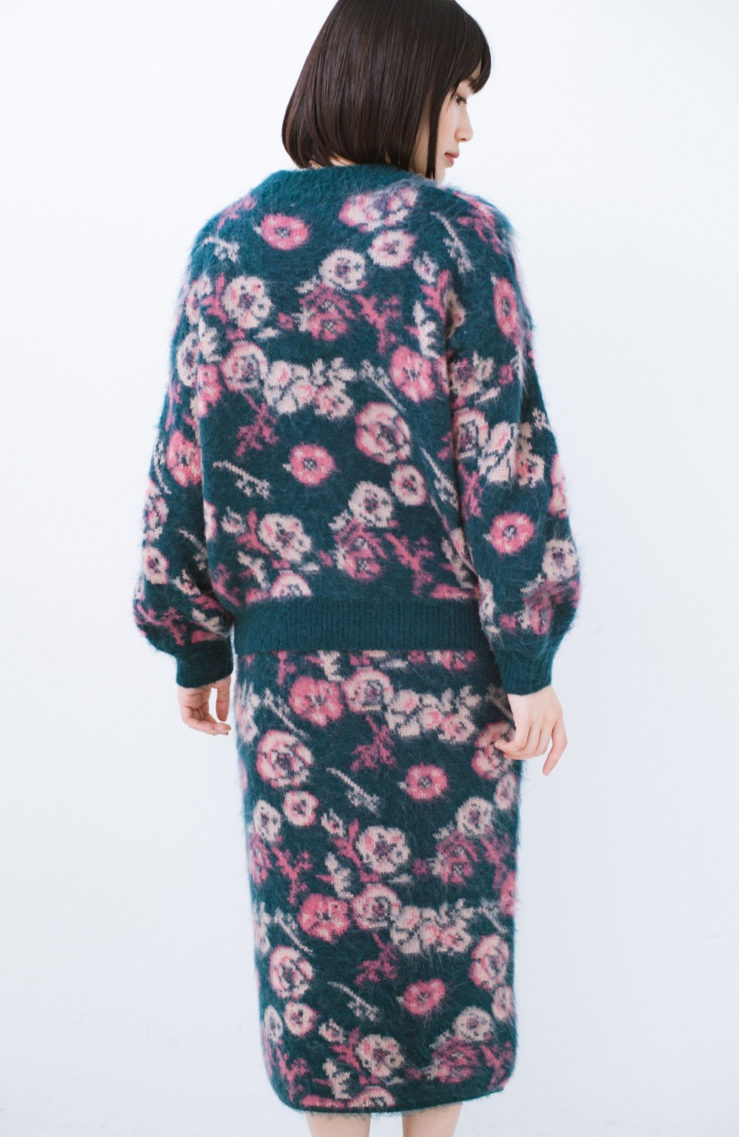haco! <KANA MATSUNAMIテキスタイル>野ばら柄のジャカードニットトップス <ブルー>の商品写真13