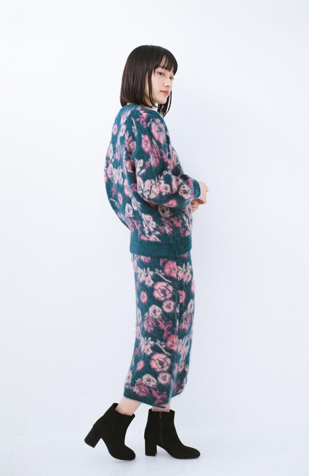 haco! <KANA MATSUNAMIテキスタイル>野ばら柄のジャカードニットトップス <ブルー>の商品写真6