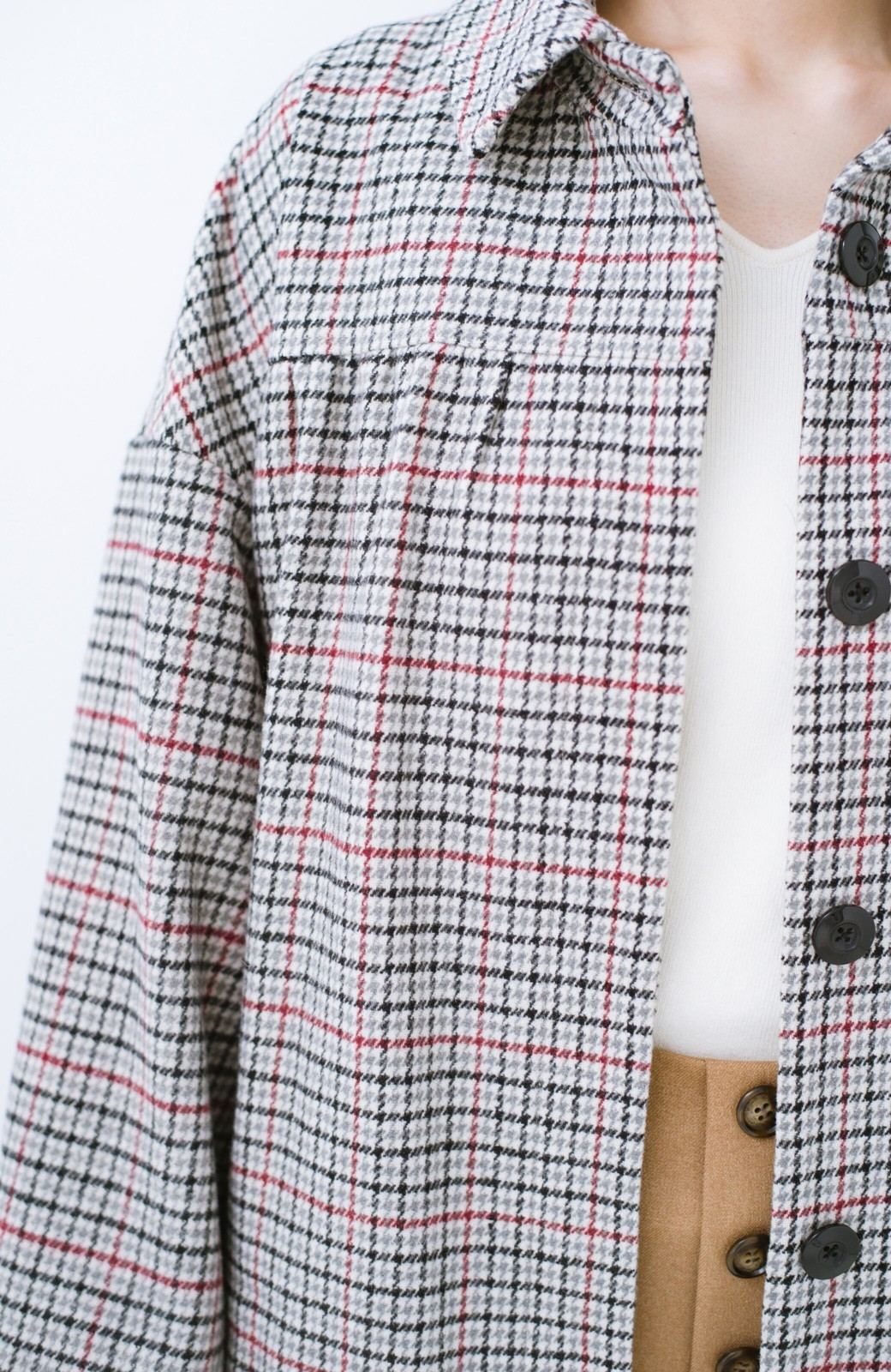 haco! パッと着て今っぽが完成!ふんわり袖がかわいい クラシックなチェックコート <チェック>の商品写真5