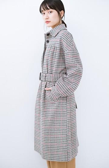 haco! パッと着て今っぽが完成!ふんわり袖がかわいい クラシックなチェックコート<チェック>の商品写真