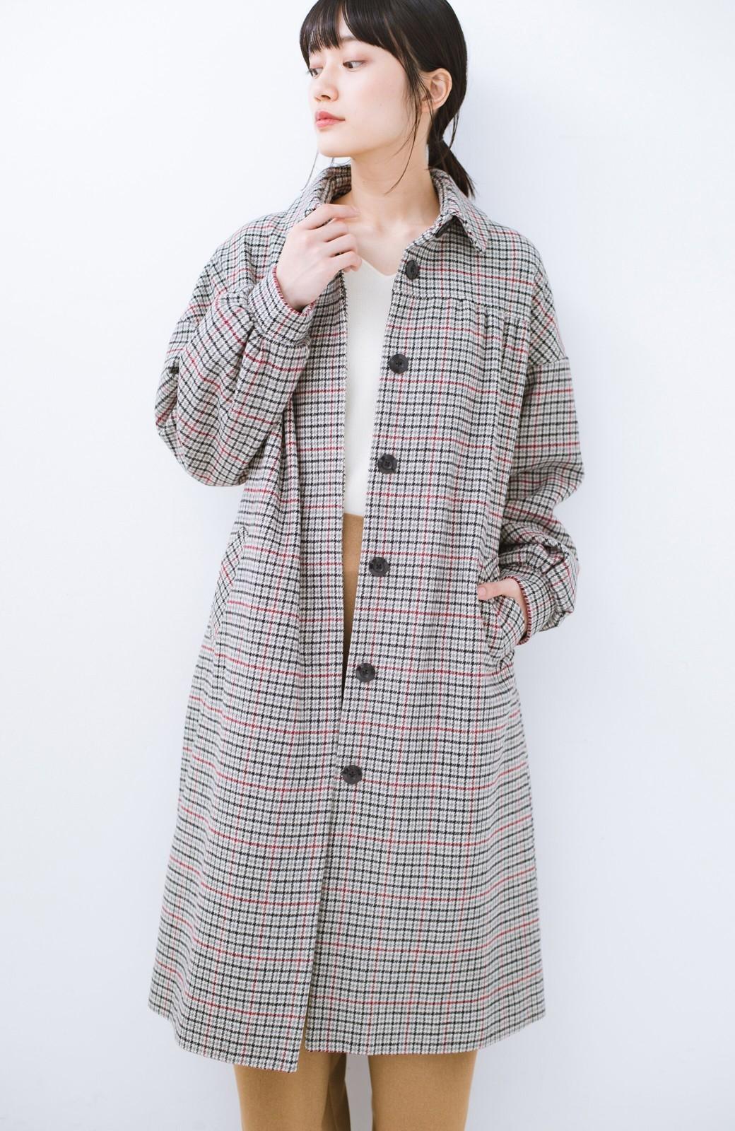 haco! パッと着て今っぽが完成!ふんわり袖がかわいい クラシックなチェックコート <チェック>の商品写真4