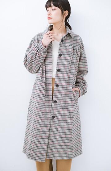 haco! パッと着て今っぽが完成!ふんわり袖がかわいい クラシックなチェックコート <チェック>の商品写真