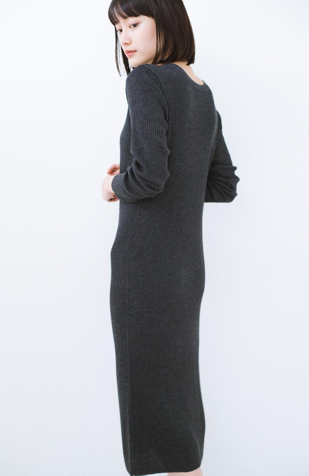 haco! 美シルエットがうれしい着方自由のオトナリブニットカーディガン by MAKORI <チャコールグレー>の商品写真14