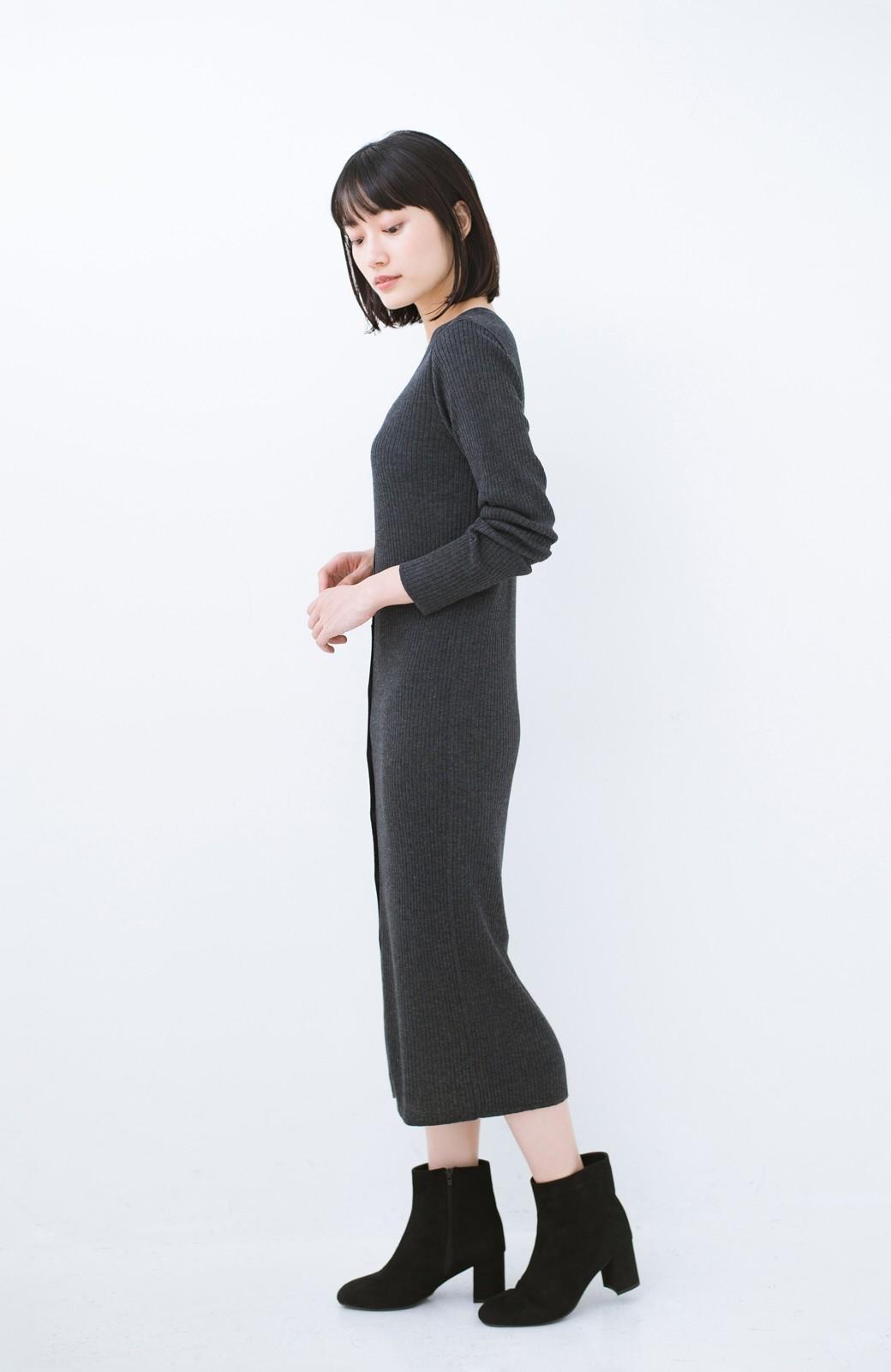 haco! 美シルエットがうれしい着方自由のオトナリブニットカーディガン by MAKORI <チャコールグレー>の商品写真8