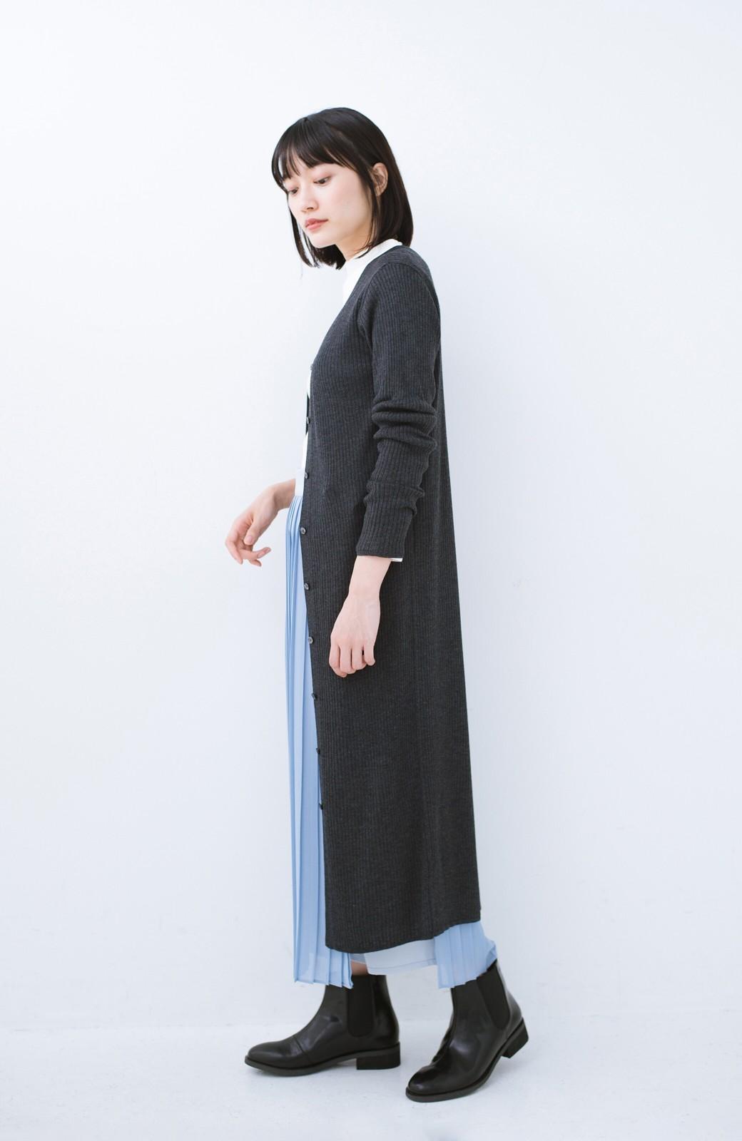haco! 美シルエットがうれしい着方自由のオトナリブニットカーディガン by MAKORI <チャコールグレー>の商品写真9