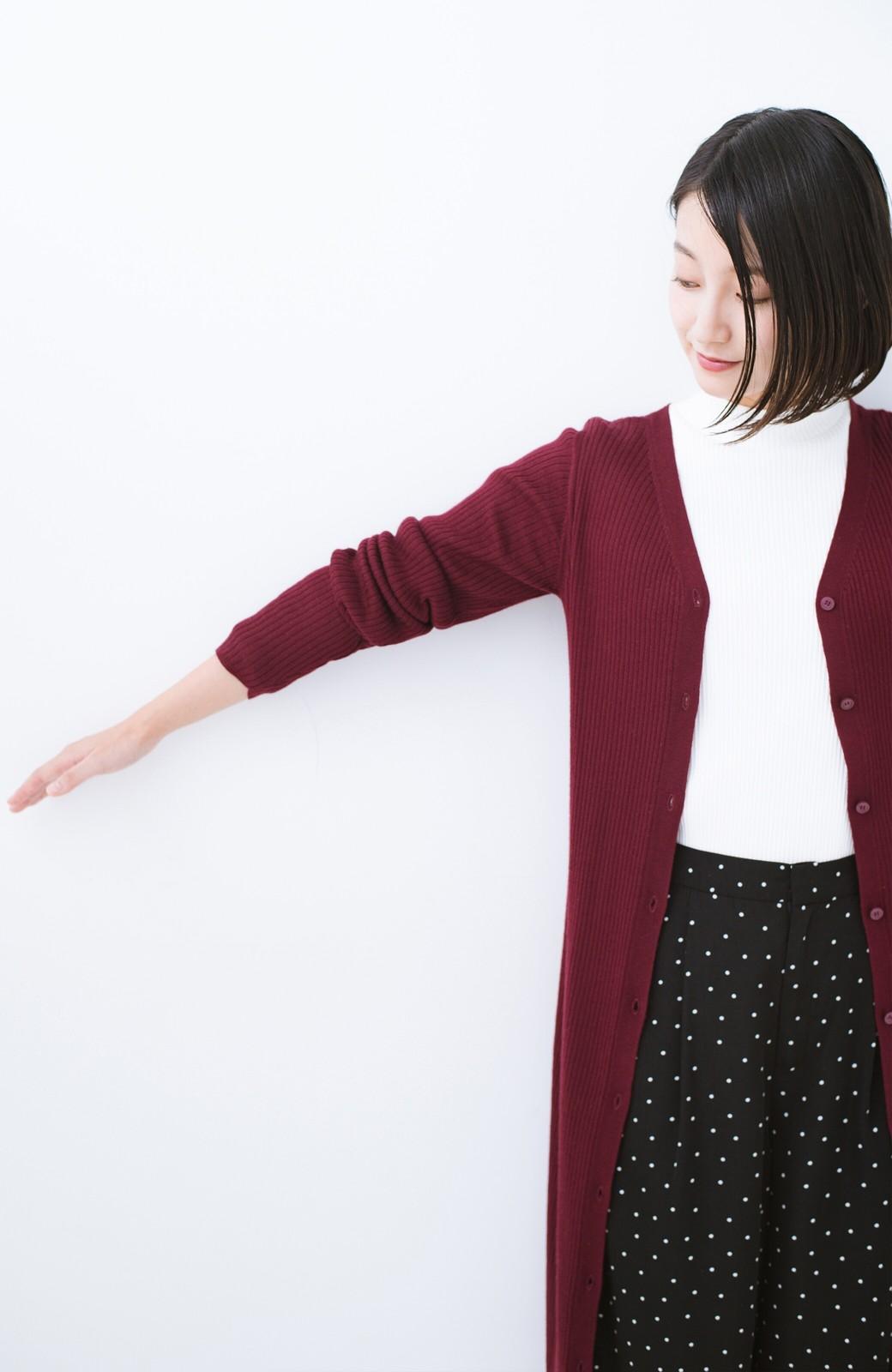 haco! 美シルエットがうれしい着方自由のオトナリブニットカーディガン by MAKORI <ボルドー>の商品写真21