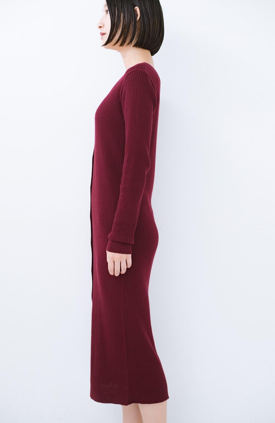 haco! 美シルエットがうれしい着方自由のオトナリブニットカーディガン by MAKORI <ボルドー>の商品写真15