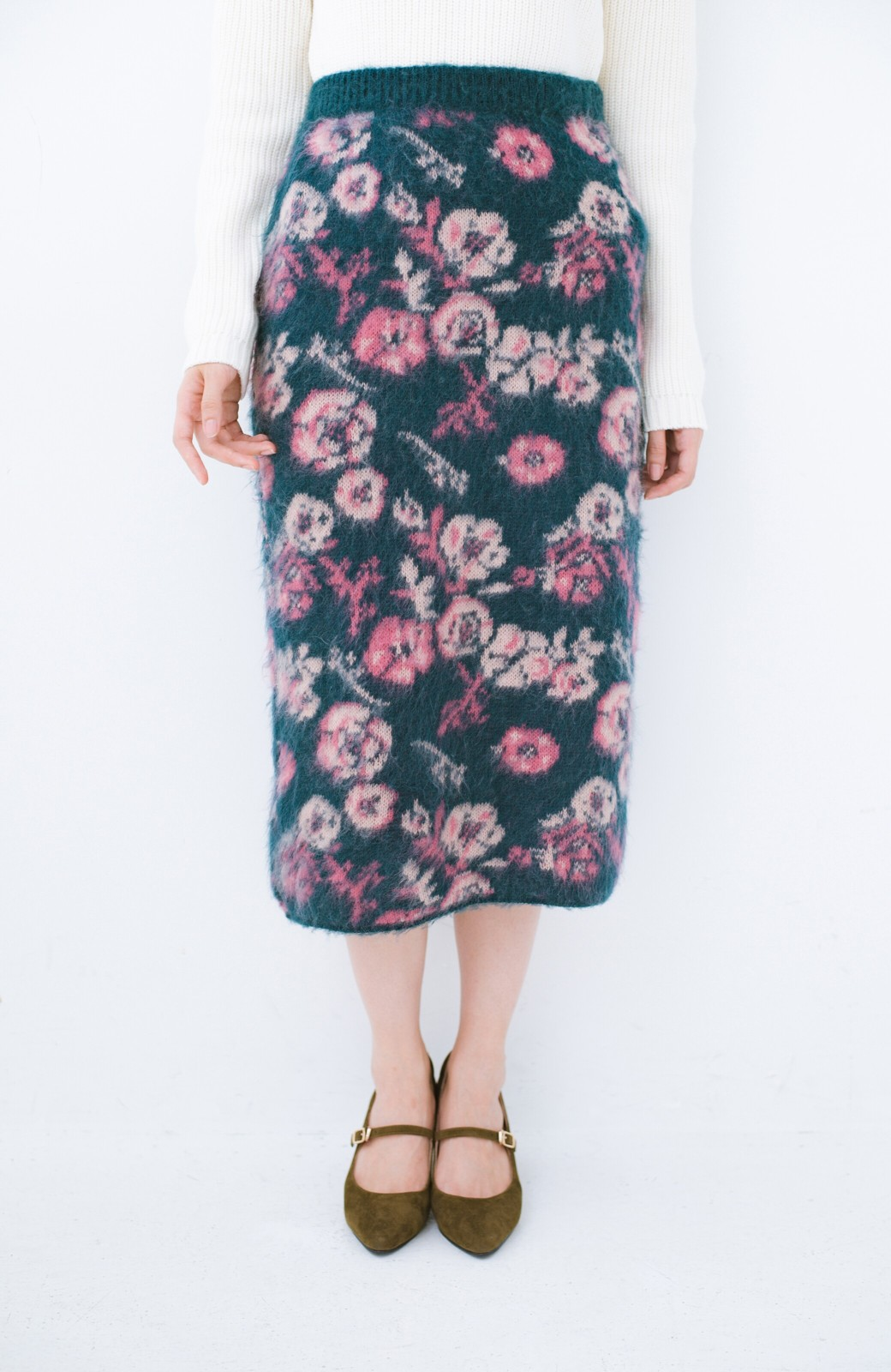 haco! <KANA MATSUNAMIテキスタイル>野ばら柄のジャカードニットスカート <ブルー>の商品写真1