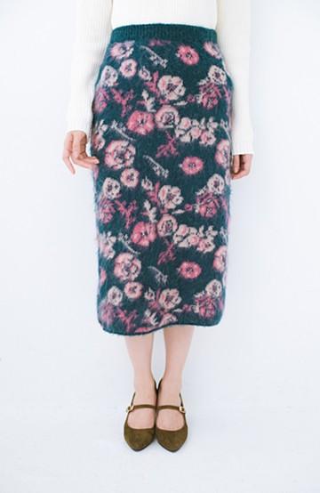 haco! <KANA MATSUNAMIテキスタイル>野ばら柄のジャカードニットスカート <ブルー>の商品写真