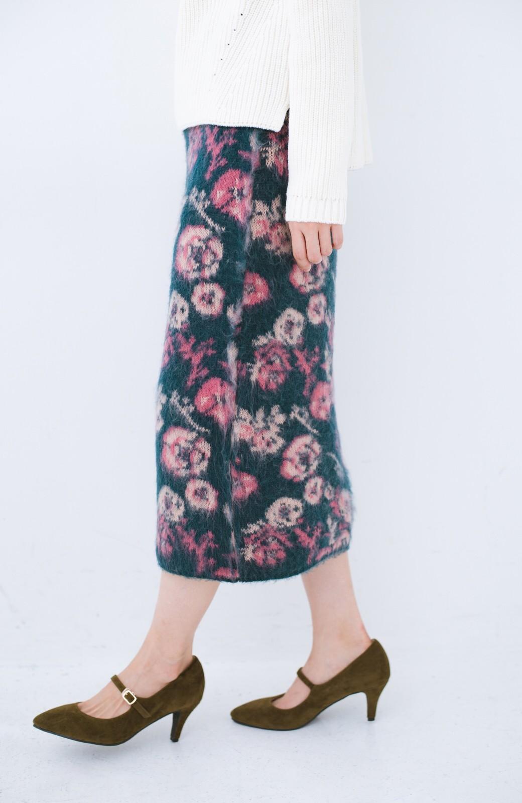 haco! <KANA MATSUNAMIテキスタイル>野ばら柄のジャカードニットスカート <ブルー>の商品写真3