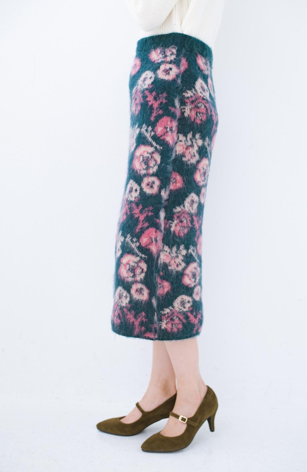 haco! <KANA MATSUNAMIテキスタイル>野ばら柄のジャカードニットスカート <ブルー>の商品写真4