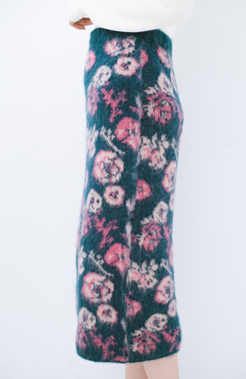 haco! <KANA MATSUNAMIテキスタイル>野ばら柄のジャカードニットスカート <ブルー>の商品写真6