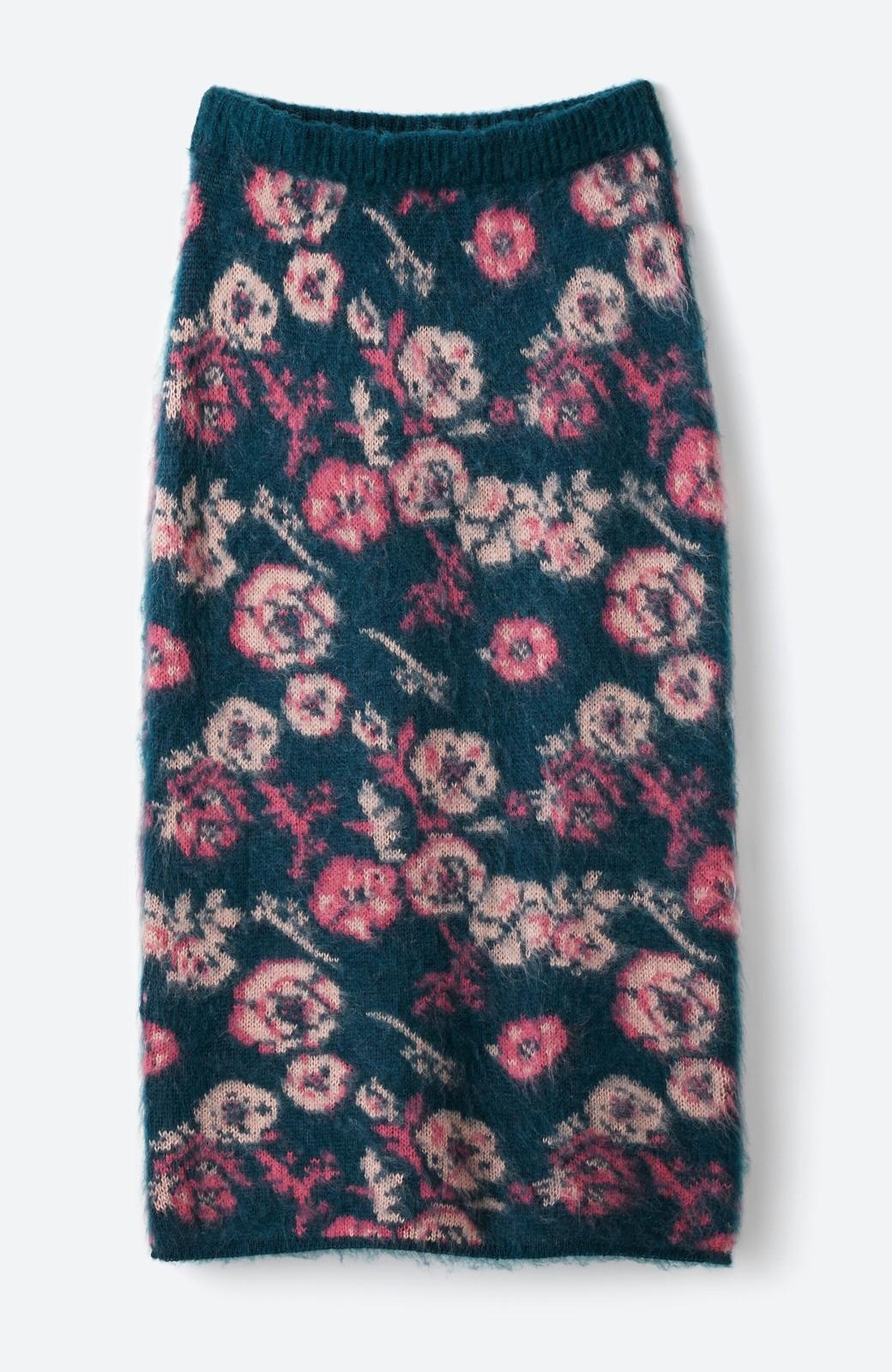 haco! <KANA MATSUNAMIテキスタイル>野ばら柄のジャカードニットスカート <ブルー>の商品写真2