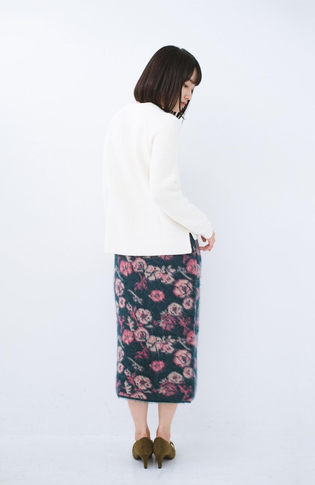 haco! <KANA MATSUNAMIテキスタイル>野ばら柄のジャカードニットスカート <ブルー>の商品写真13