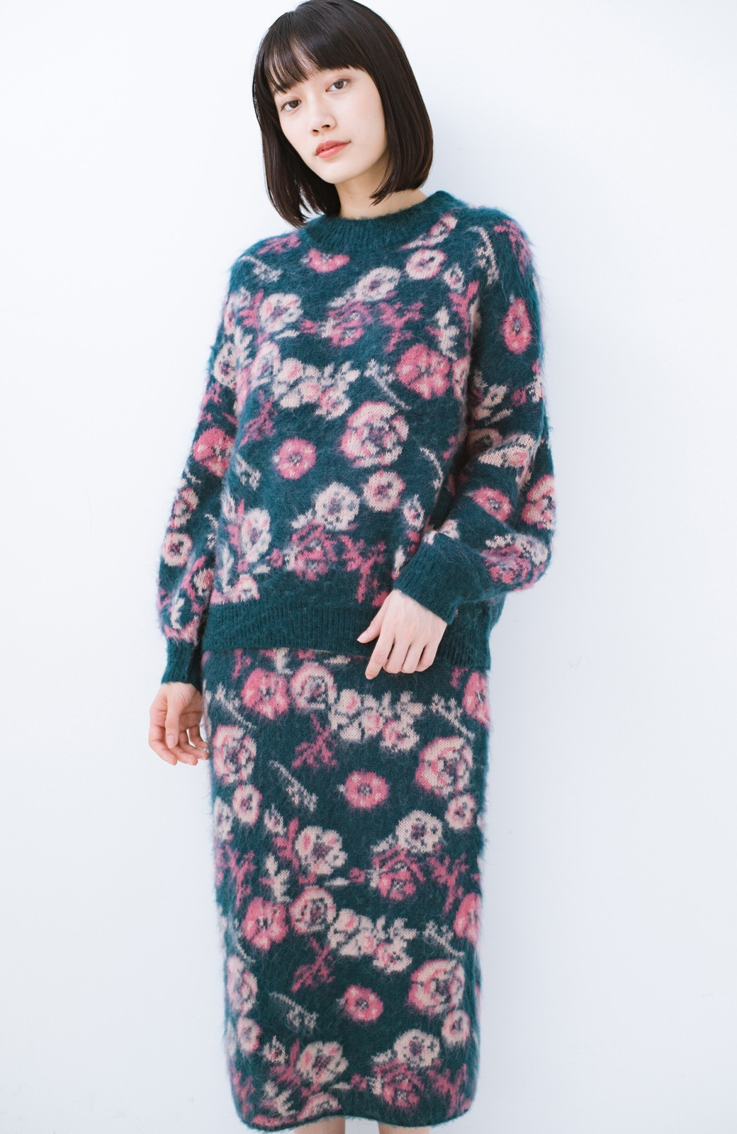 haco! <KANA MATSUNAMIテキスタイル>野ばら柄のジャカードニットスカート <ブルー>の商品写真14