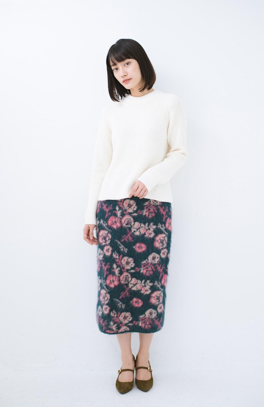 haco! <KANA MATSUNAMIテキスタイル>野ばら柄のジャカードニットスカート <ブルー>の商品写真8