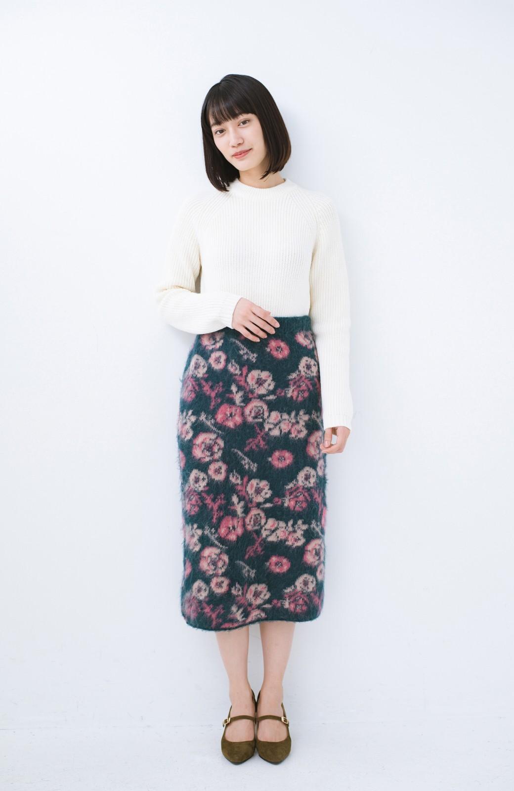 haco! <KANA MATSUNAMIテキスタイル>野ばら柄のジャカードニットスカート <ブルー>の商品写真9