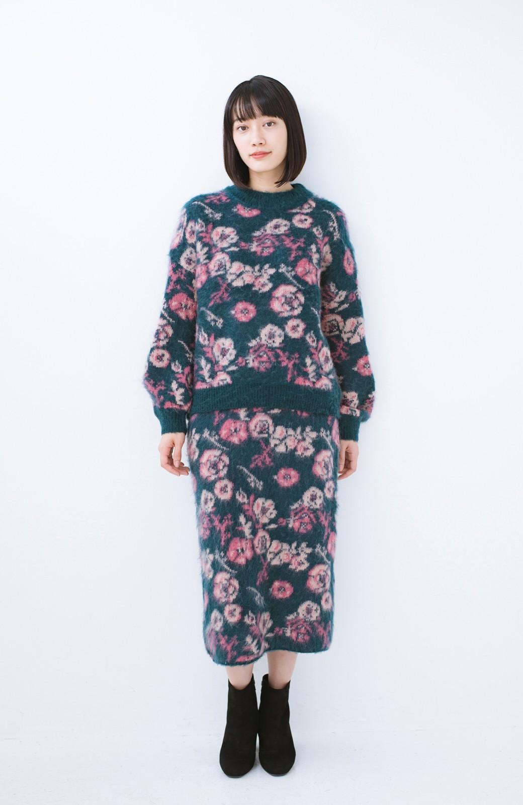 haco! <KANA MATSUNAMIテキスタイル>野ばら柄のジャカードニットスカート <ブルー>の商品写真10