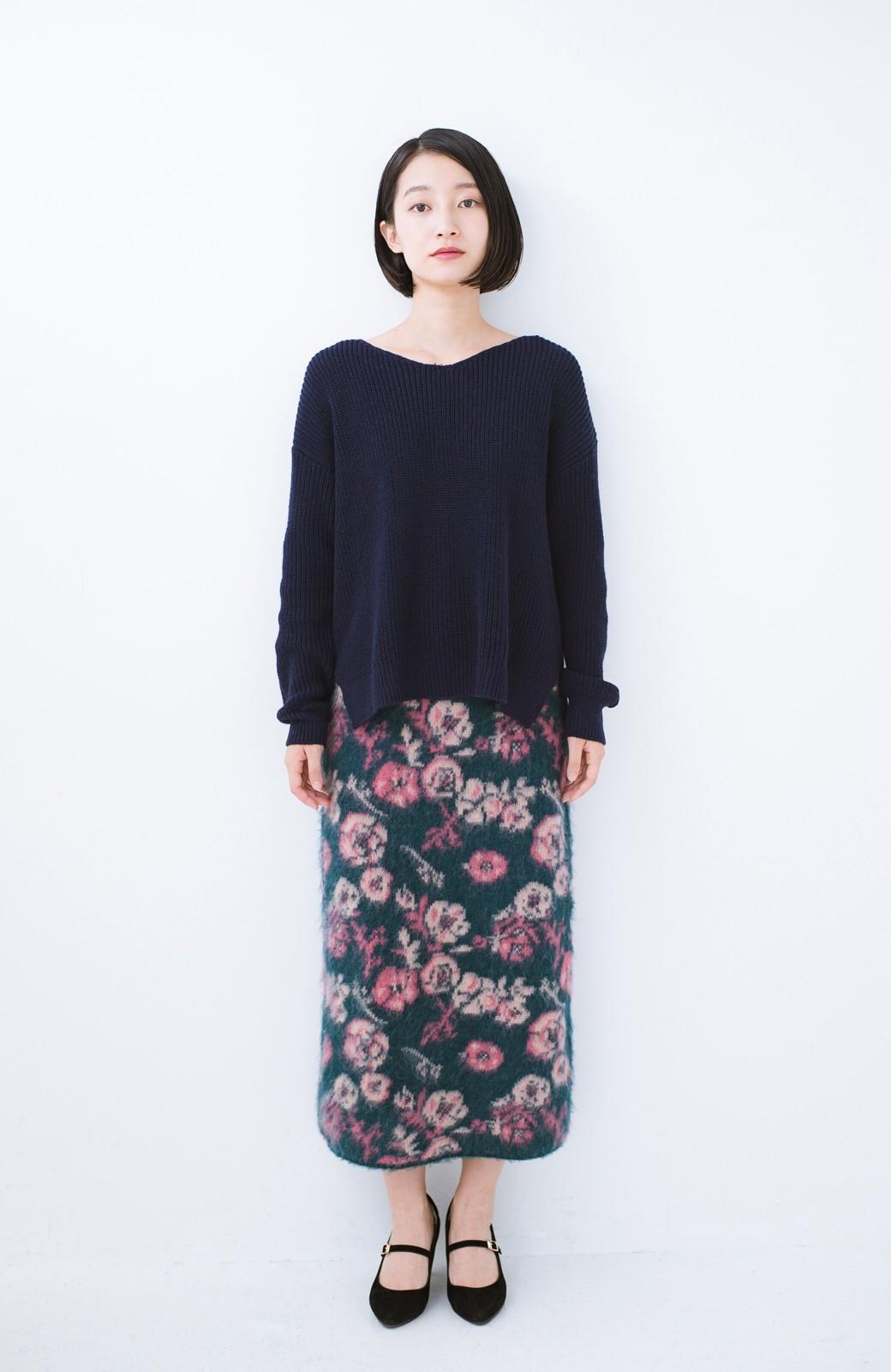 haco! <KANA MATSUNAMIテキスタイル>野ばら柄のジャカードニットスカート <ブルー>の商品写真11