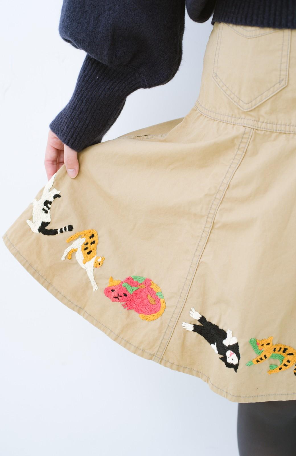 haco! Stitch by Stitch 子猫たちが楽しく戯れて。CANTON FOR PBP サーキュラースカート <ベージュ>の商品写真2