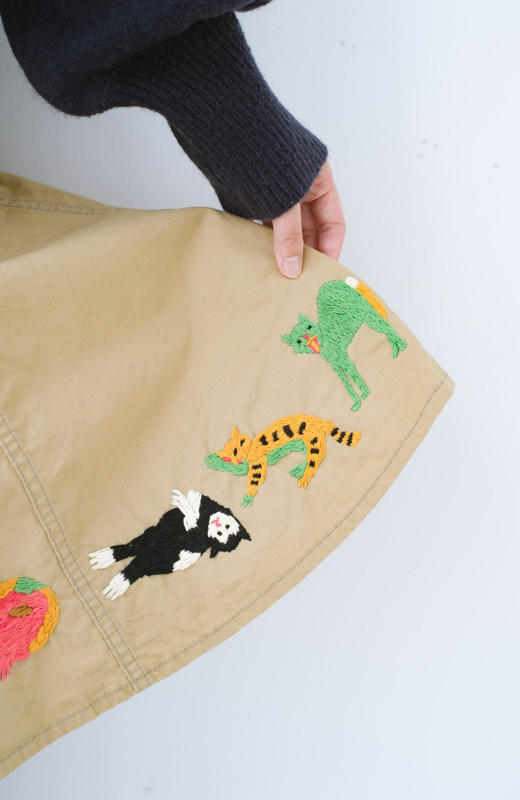 haco! Stitch by Stitch 子猫たちが楽しく戯れて。CANTON FOR PBP サーキュラースカート <ベージュ>の商品写真5