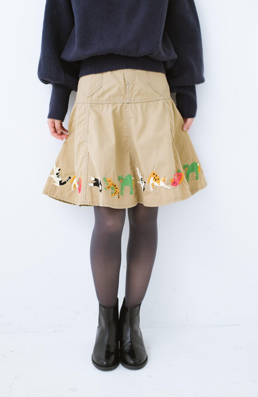haco! Stitch by Stitch 子猫たちが楽しく戯れて。CANTON FOR PBP サーキュラースカート <ベージュ>の商品写真1