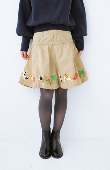 haco! Stitch by Stitch 子猫たちが楽しく戯れて。CANTON FOR PBP サーキュラースカート <ベージュ>の商品写真