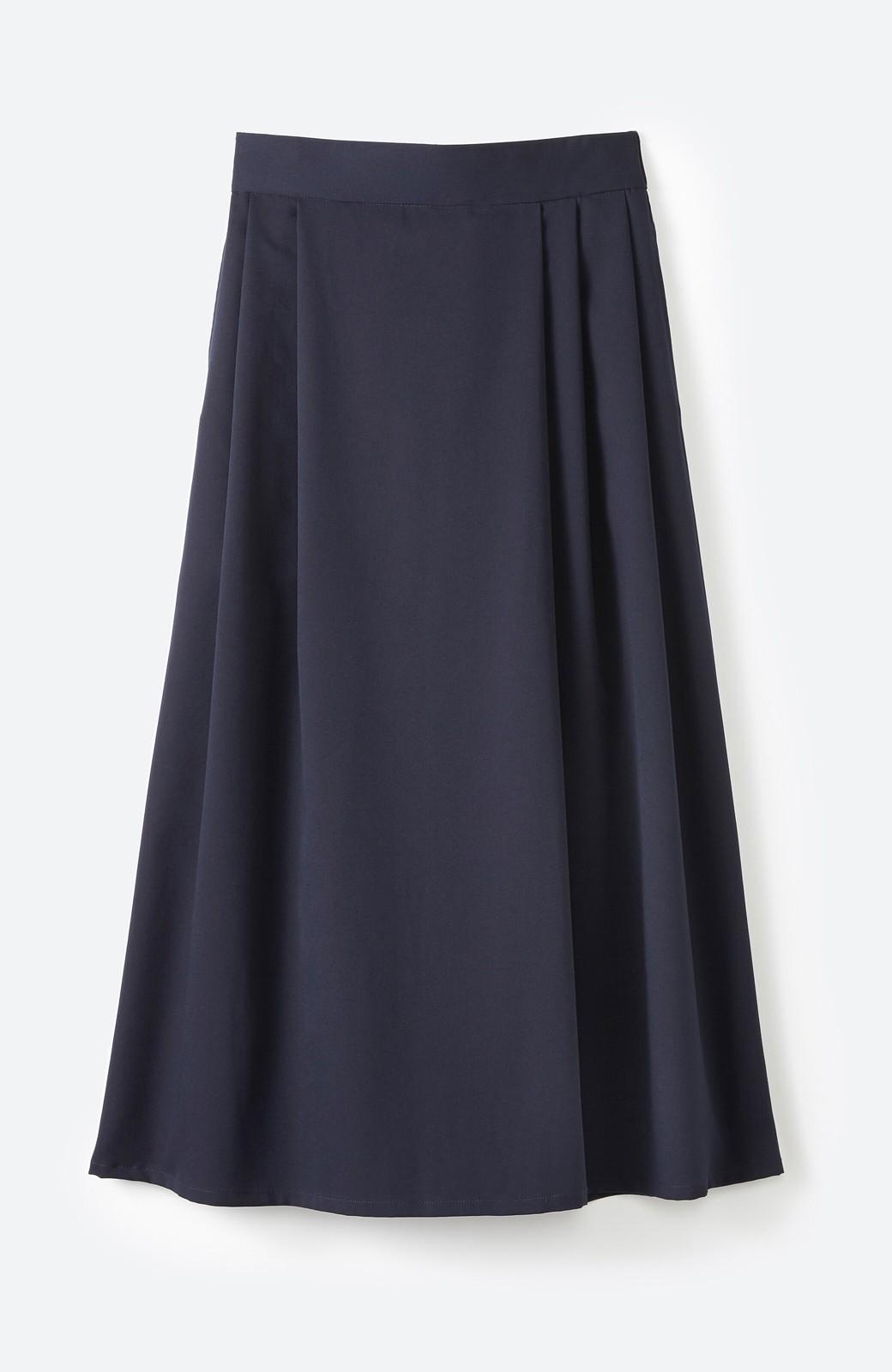 haco! 旅の救世主 きれいめブラウスとスカート見えゆったりワイドパンツのセットアップ <ネイビー>の商品写真3