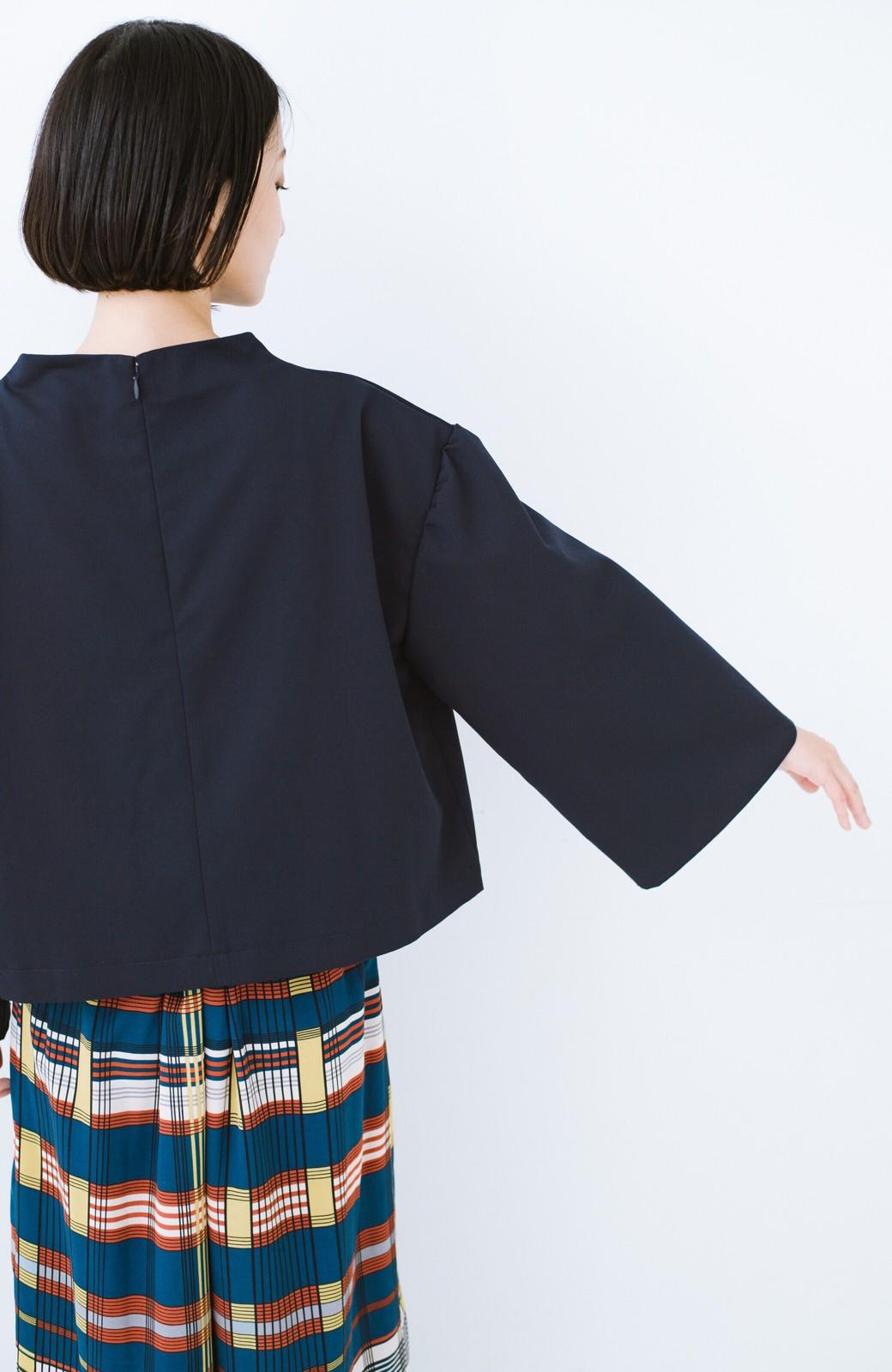 haco! 旅の救世主 きれいめブラウスとスカート見えゆったりワイドパンツのセットアップ <ネイビー>の商品写真22