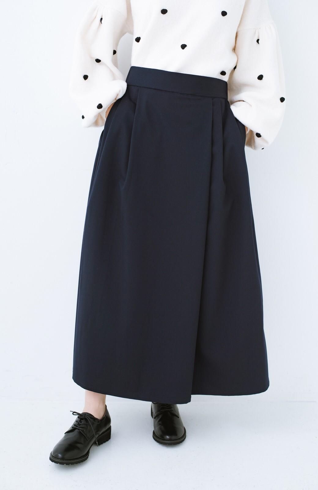 haco! 旅の救世主 きれいめブラウスとスカート見えゆったりワイドパンツのセットアップ <ネイビー>の商品写真23