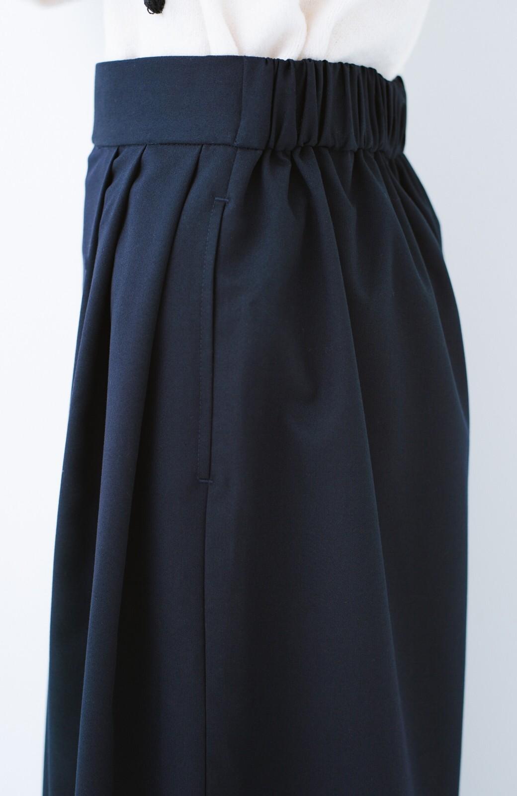 haco! 旅の救世主 きれいめブラウスとスカート見えゆったりワイドパンツのセットアップ <ネイビー>の商品写真27