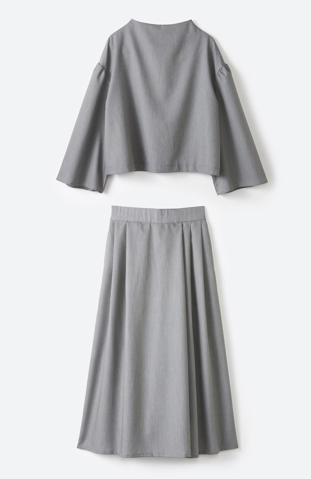 haco! 旅の救世主 きれいめブラウスとスカート見えゆったりワイドパンツのセットアップ <杢グレー>の商品写真1