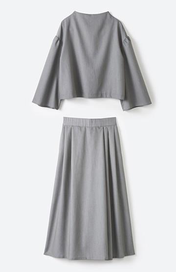 haco! 旅の救世主 きれいめブラウスとスカート見えゆったりワイドパンツのセットアップ <杢グレー>の商品写真