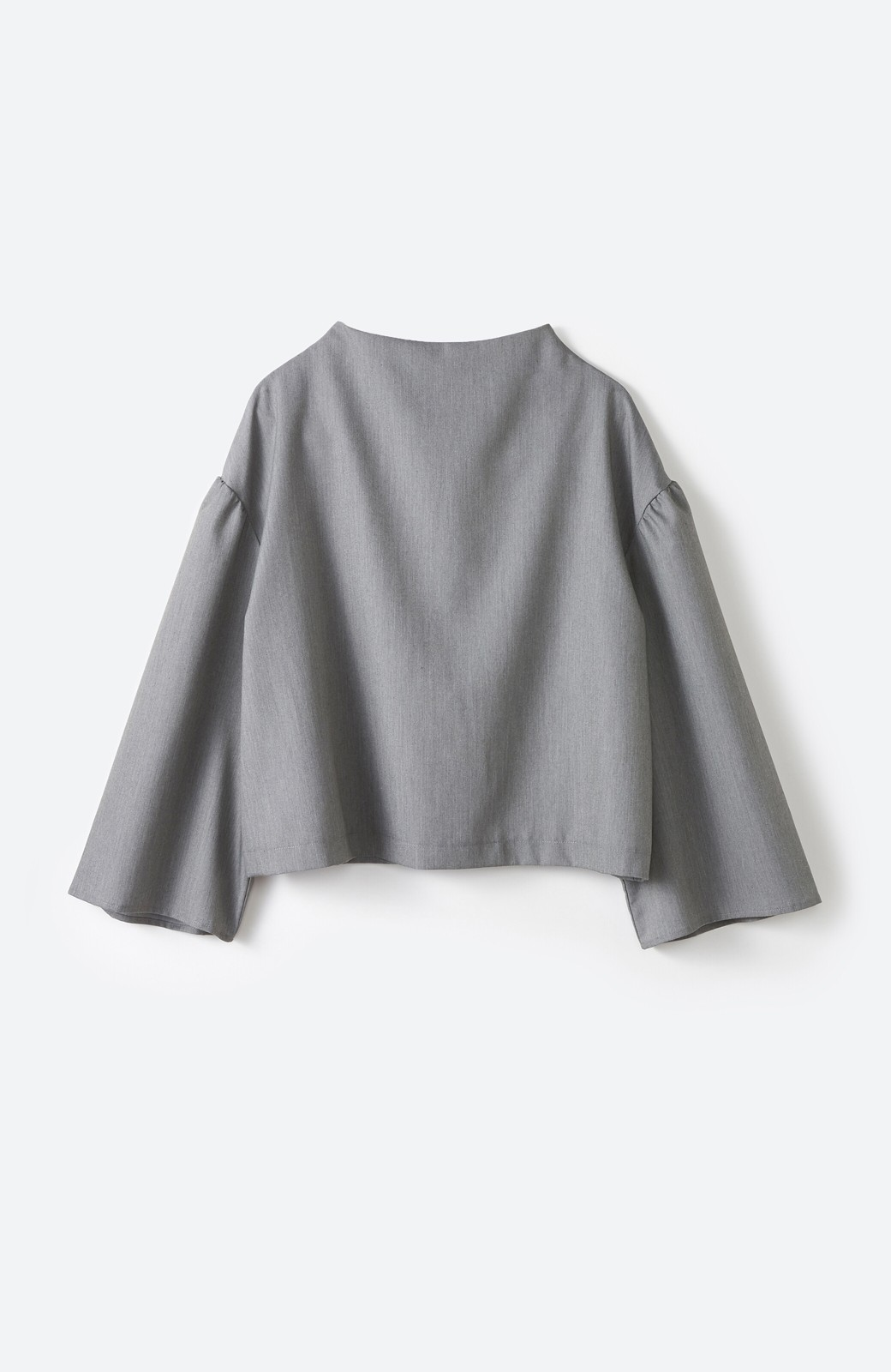 haco! 旅の救世主 きれいめブラウスとスカート見えゆったりワイドパンツのセットアップ <杢グレー>の商品写真2