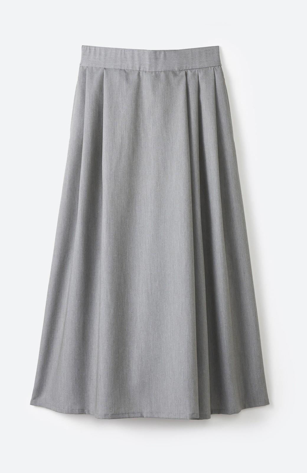 haco! 旅の救世主 きれいめブラウスとスカート見えゆったりワイドパンツのセットアップ <杢グレー>の商品写真3