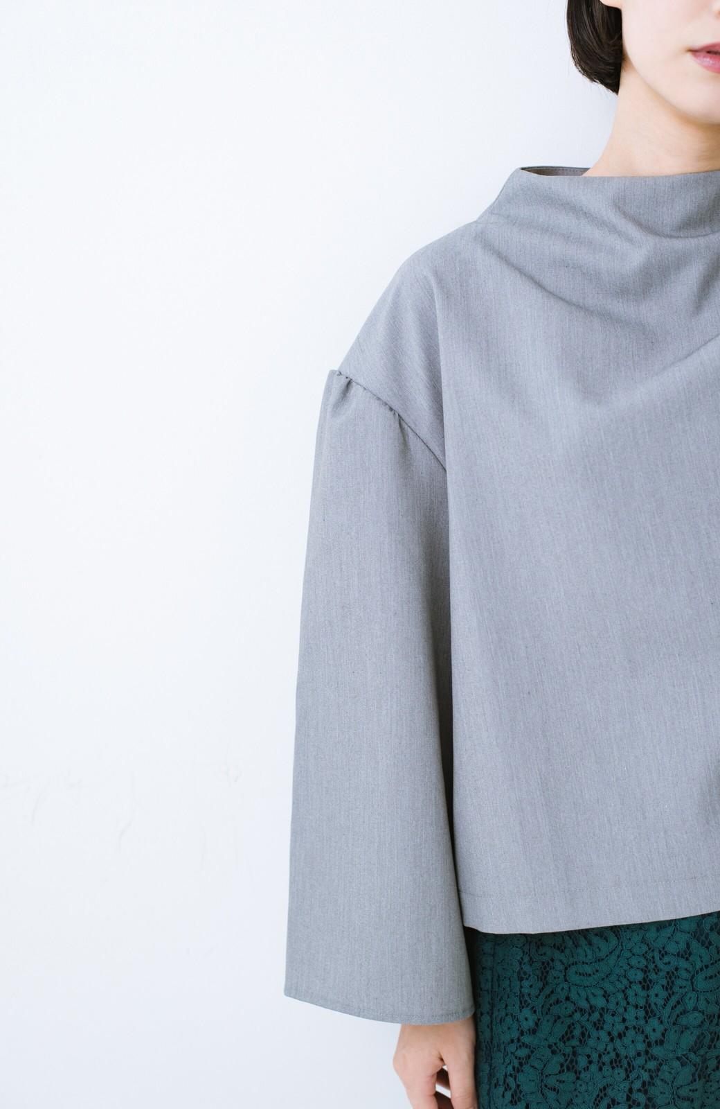 haco! 旅の救世主 きれいめブラウスとスカート見えゆったりワイドパンツのセットアップ <杢グレー>の商品写真24