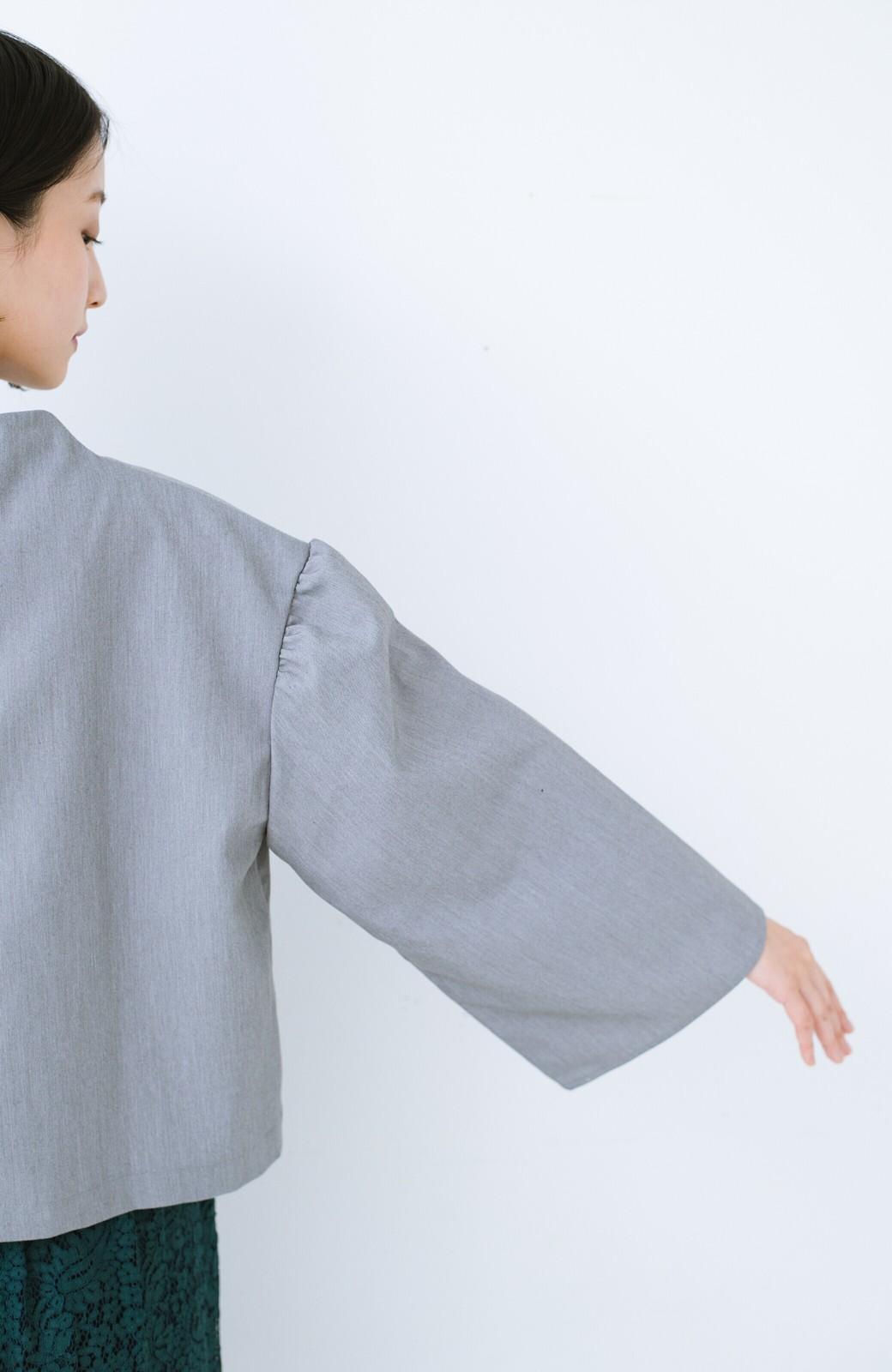 haco! 旅の救世主 きれいめブラウスとスカート見えゆったりワイドパンツのセットアップ <杢グレー>の商品写真25