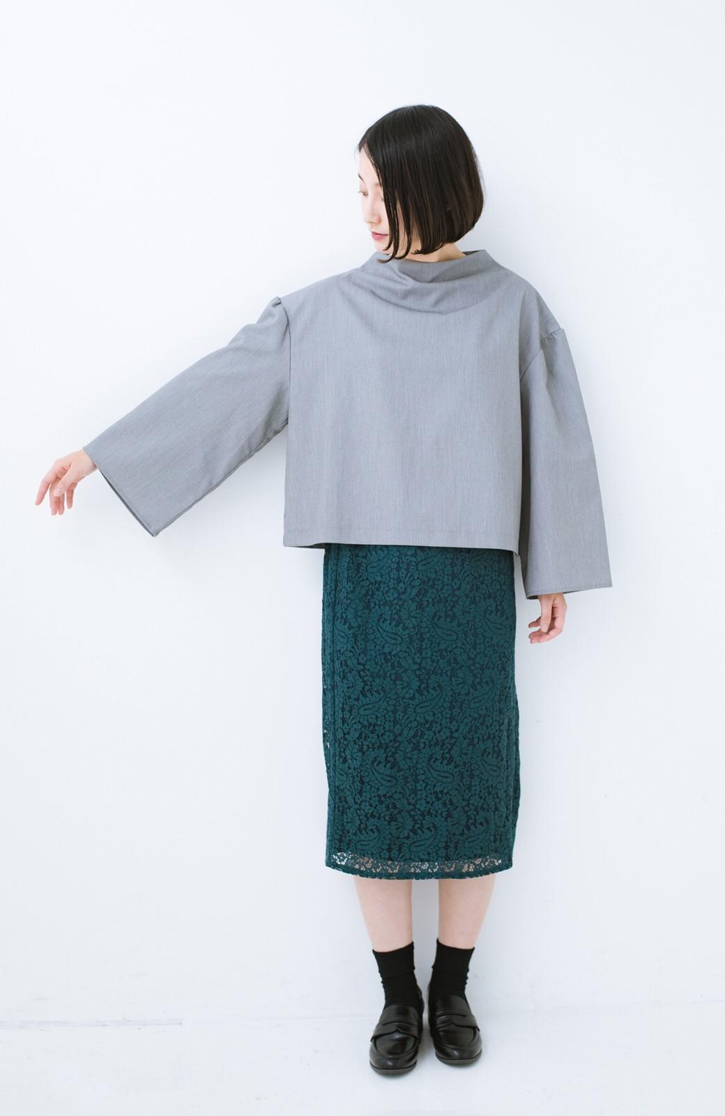 haco! 旅の救世主 きれいめブラウスとスカート見えゆったりワイドパンツのセットアップ <杢グレー>の商品写真5