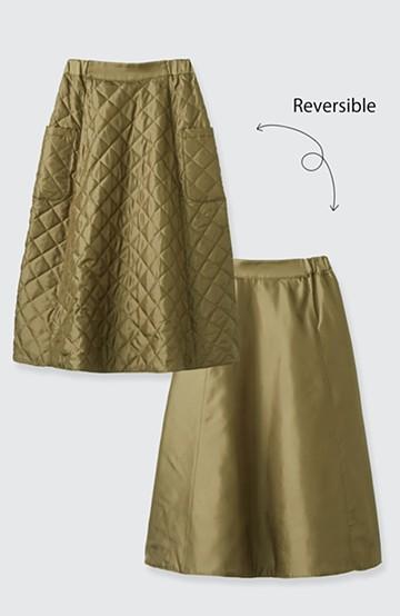 haco! ふんわりシルエットでウエストキュッと見せ リバーシブルで楽しめるキルティングスカート <カーキ>の商品写真