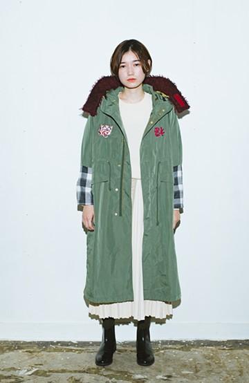 haco! haco! × RBTXCO 三つ目の虎福 刺繍入りロングミリタリーコート  <カーキ>の商品写真