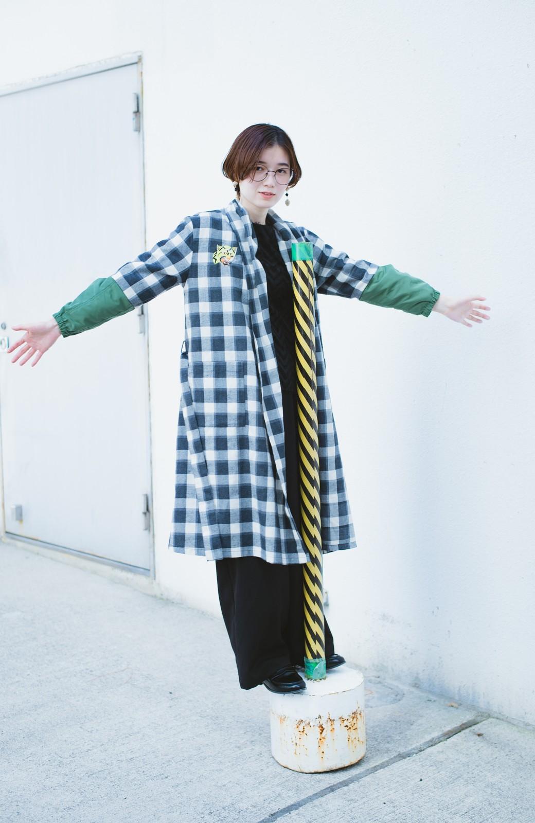 haco! haco! × RBTXCO 三つ目の虎福 刺繍入りチェックガウンコート  <ブラック系その他>の商品写真20