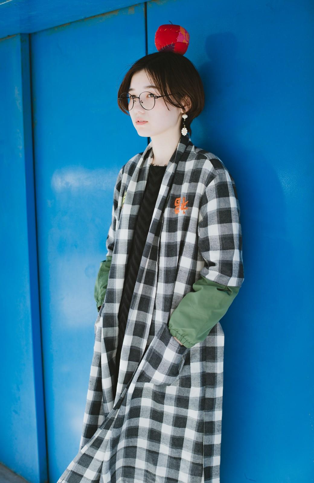 haco! haco! × RBTXCO 三つ目の虎福 刺繍入りチェックガウンコート  <ブラック系その他>の商品写真22