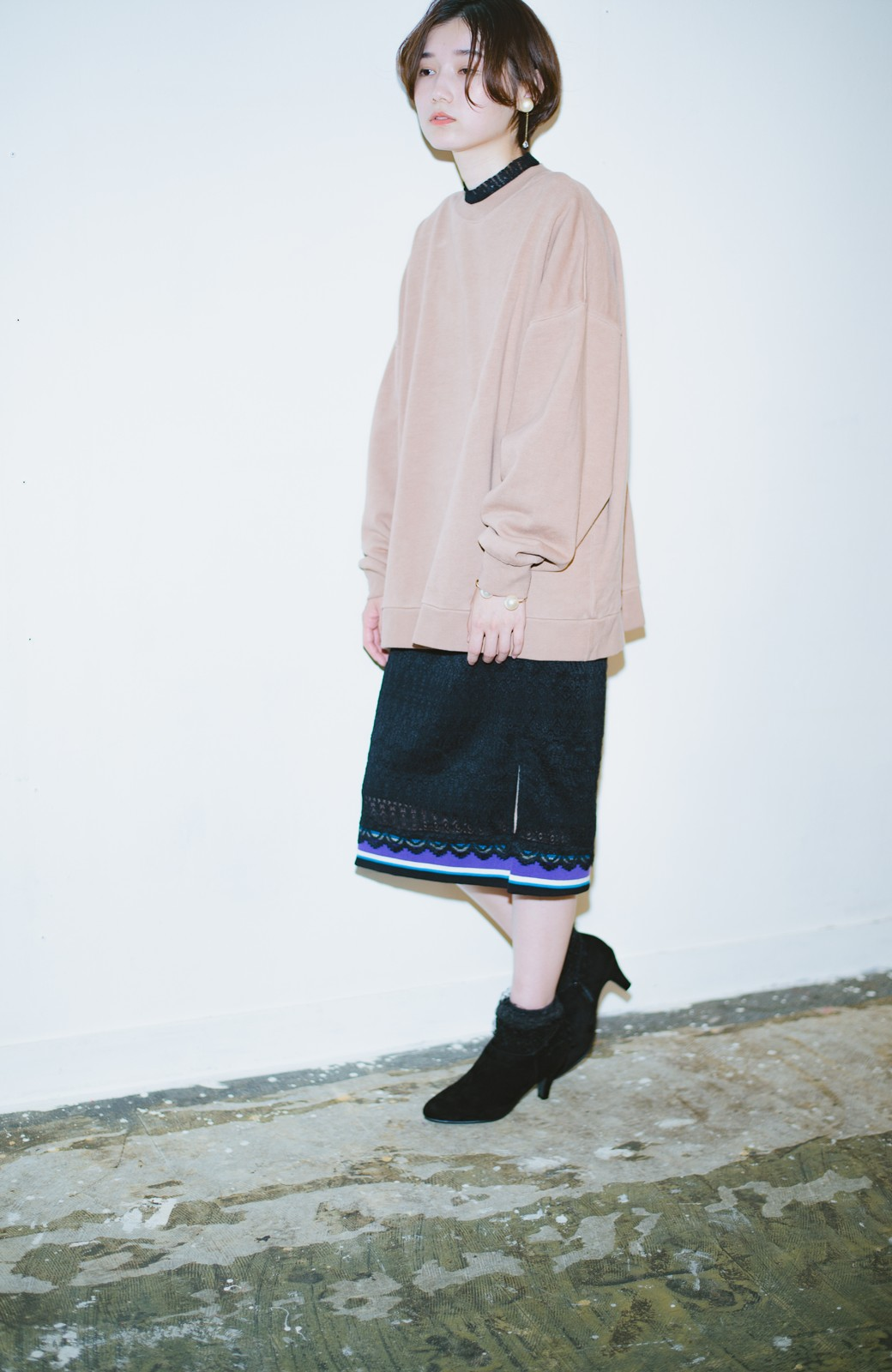 haco! haco! × RBTXCO スポーティーリブで一段上のオシャレさんレースタイトスカート  <ブラック>の商品写真3