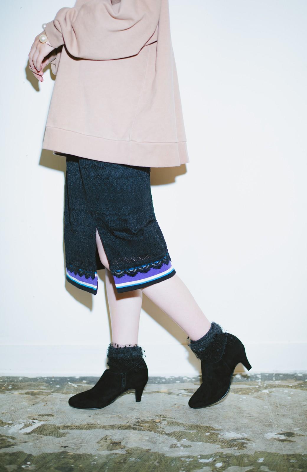 haco! haco! × RBTXCO スポーティーリブで一段上のオシャレさんレースタイトスカート  <ブラック>の商品写真4