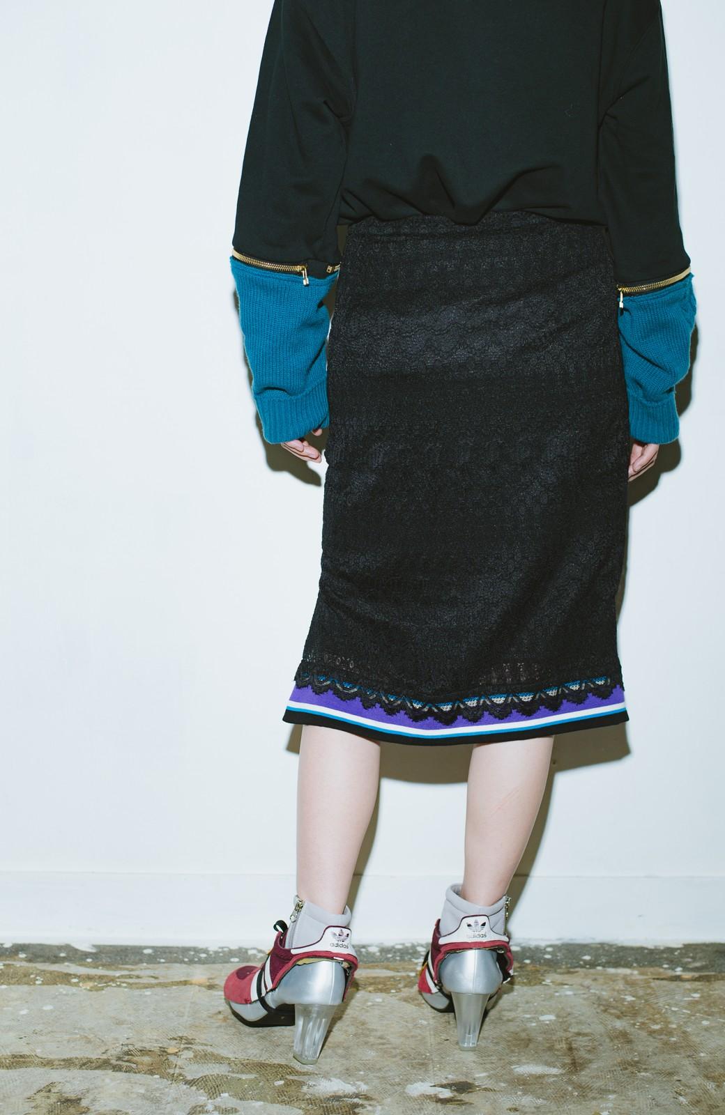 haco! haco! × RBTXCO スポーティーリブで一段上のオシャレさんレースタイトスカート  <ブラック>の商品写真7