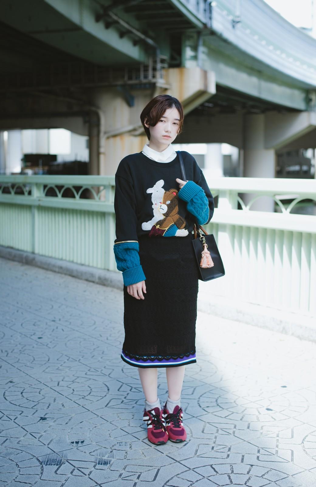 haco! haco! × RBTXCO スポーティーリブで一段上のオシャレさんレースタイトスカート  <ブラック>の商品写真8