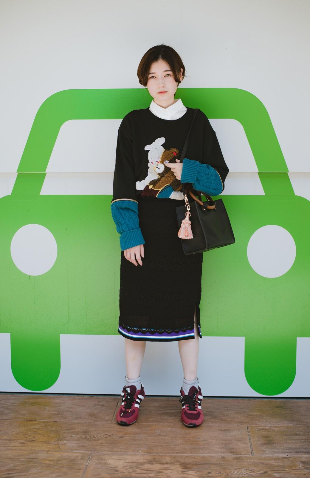 haco! haco! × RBTXCO スポーティーリブで一段上のオシャレさんレースタイトスカート  <ブラック>の商品写真10