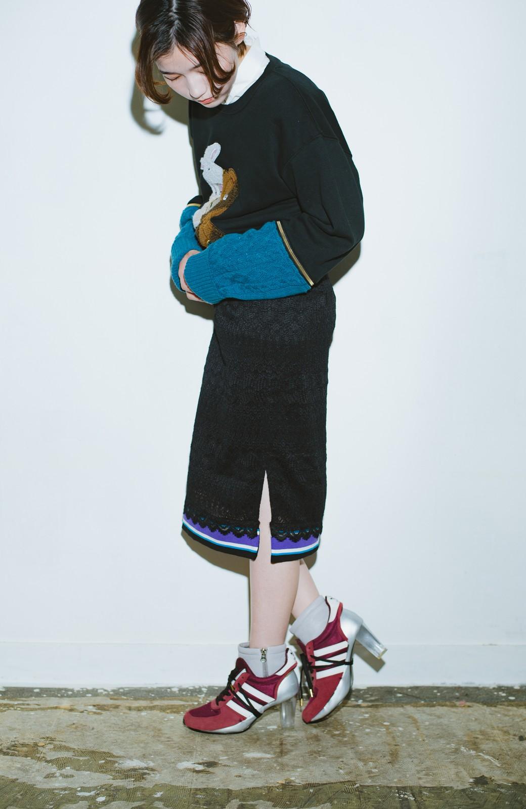 haco! haco! × RBTXCO スポーティーリブで一段上のオシャレさんレースタイトスカート  <ブラック>の商品写真1