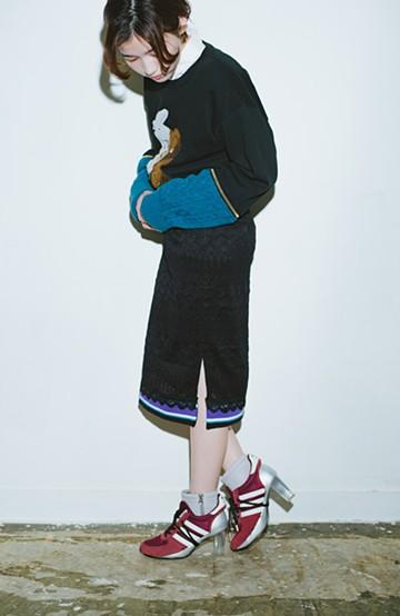 haco! haco! × RBTXCO スポーティーリブで一段上のオシャレさんレースタイトスカート  <ブラック>の商品写真